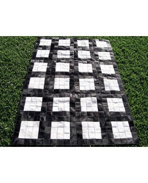 Black White Grid Cowhide Patchwork Rug X021
