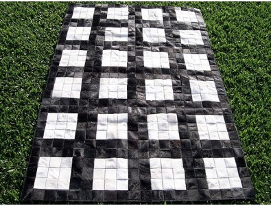 Patchwork Cowhide Rugs, Black White Grid Cowhide Patchwork Rug X021 , faux-fur-throws