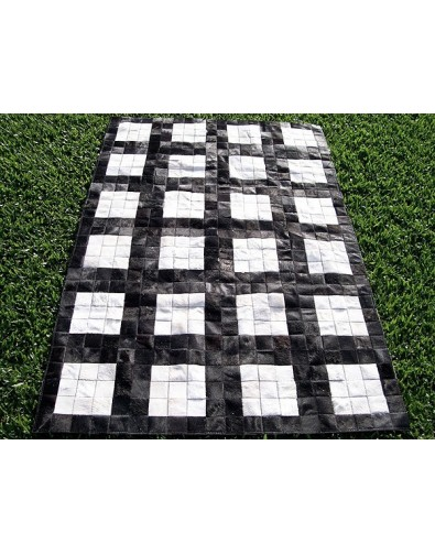 Patchwork Cowhide Rugs, Black White Grid Cowhide Patchwork Rug X021 , faux-fur-throws
