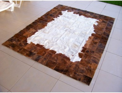 Patchwork Cowhide Rugs, Brown White Patchwork Cowhide Rug X005 , faux-fur-throws