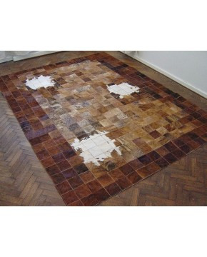 Patchwork Cowhide Rug White Highlights X035