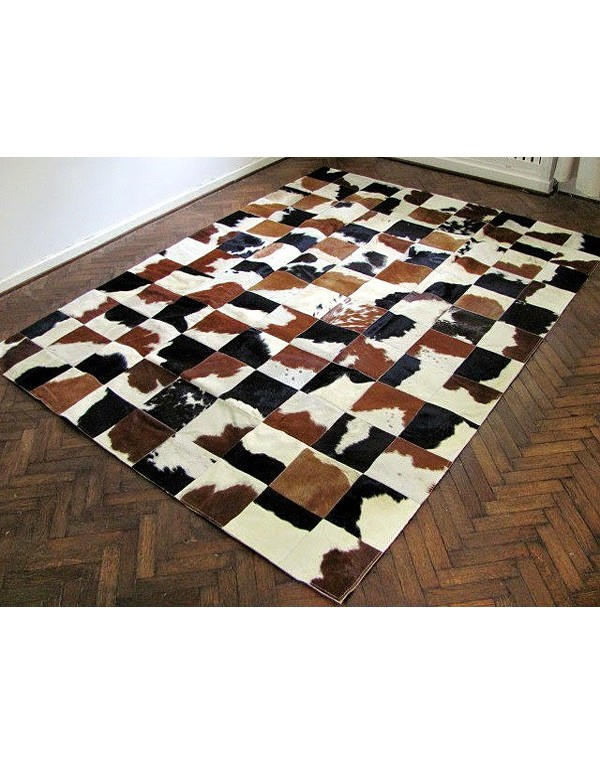Patchwork cowhide rug white