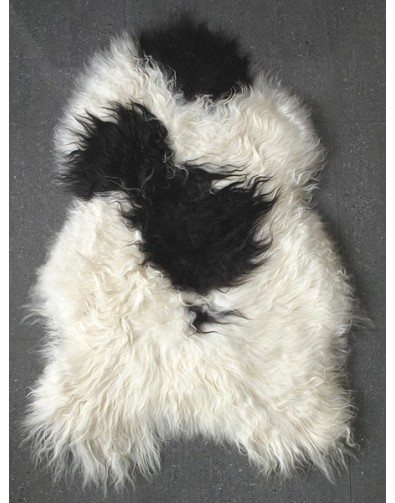 Sheepskin Rugs, Black & White Icelandic Sheepskin Rug 0137 , faux-fur-throws