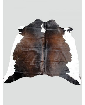 Dark Brown & White Cowhide Rug CH0011