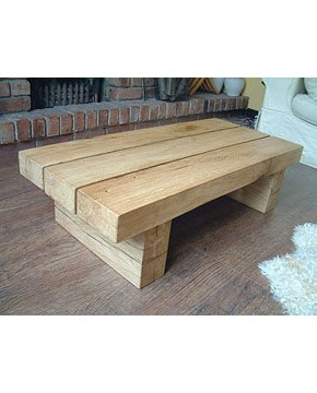 Natural Solid Light Oak 3 Beam Coffee Table Hand Made