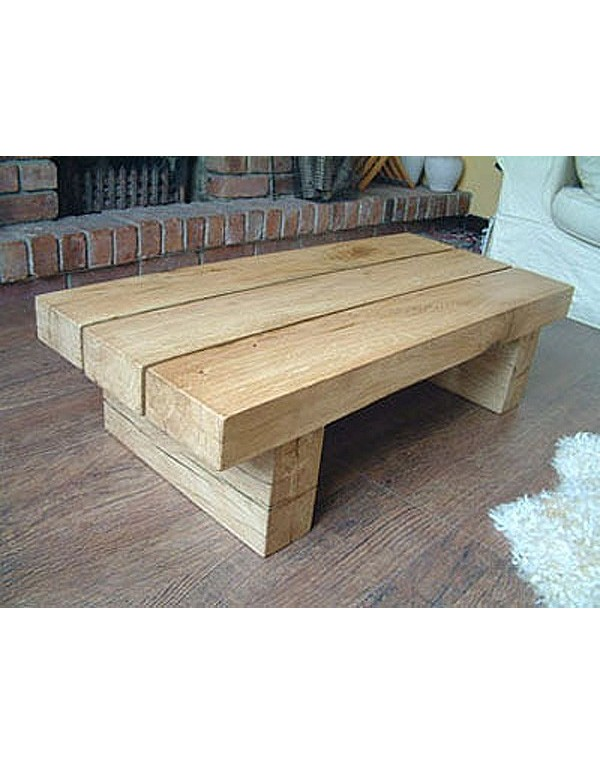 Natural Solid Light Oak 3 Beam Coffee Table Hand Made Oak Table