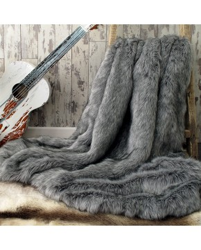 Grey Squirrel Faux Fur Throw