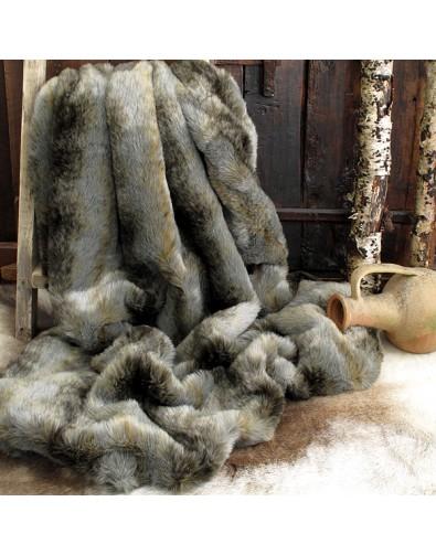 Fur Throw Grey Wolf, Grey Striped Fur Throw, Grey & Brown Fur Throw