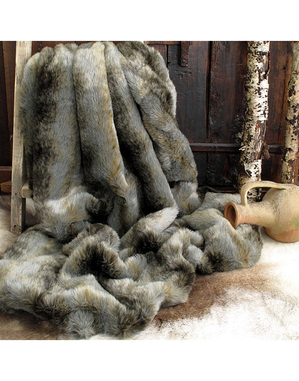 Grey Wolf Faux Fur Throw Ebay