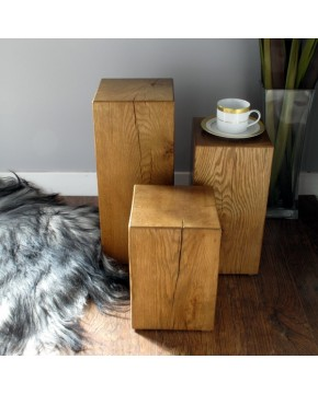 Oak Lamp Table set of 3 Medium