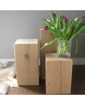 Set of 3 Light Oak Block Lamp Tables